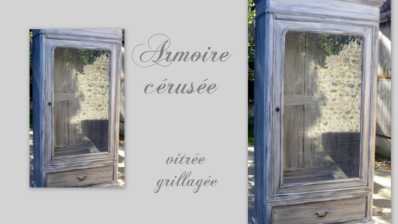 armoire patinee cerusee grillagee et vitree deco passion sol 39 n. Black Bedroom Furniture Sets. Home Design Ideas